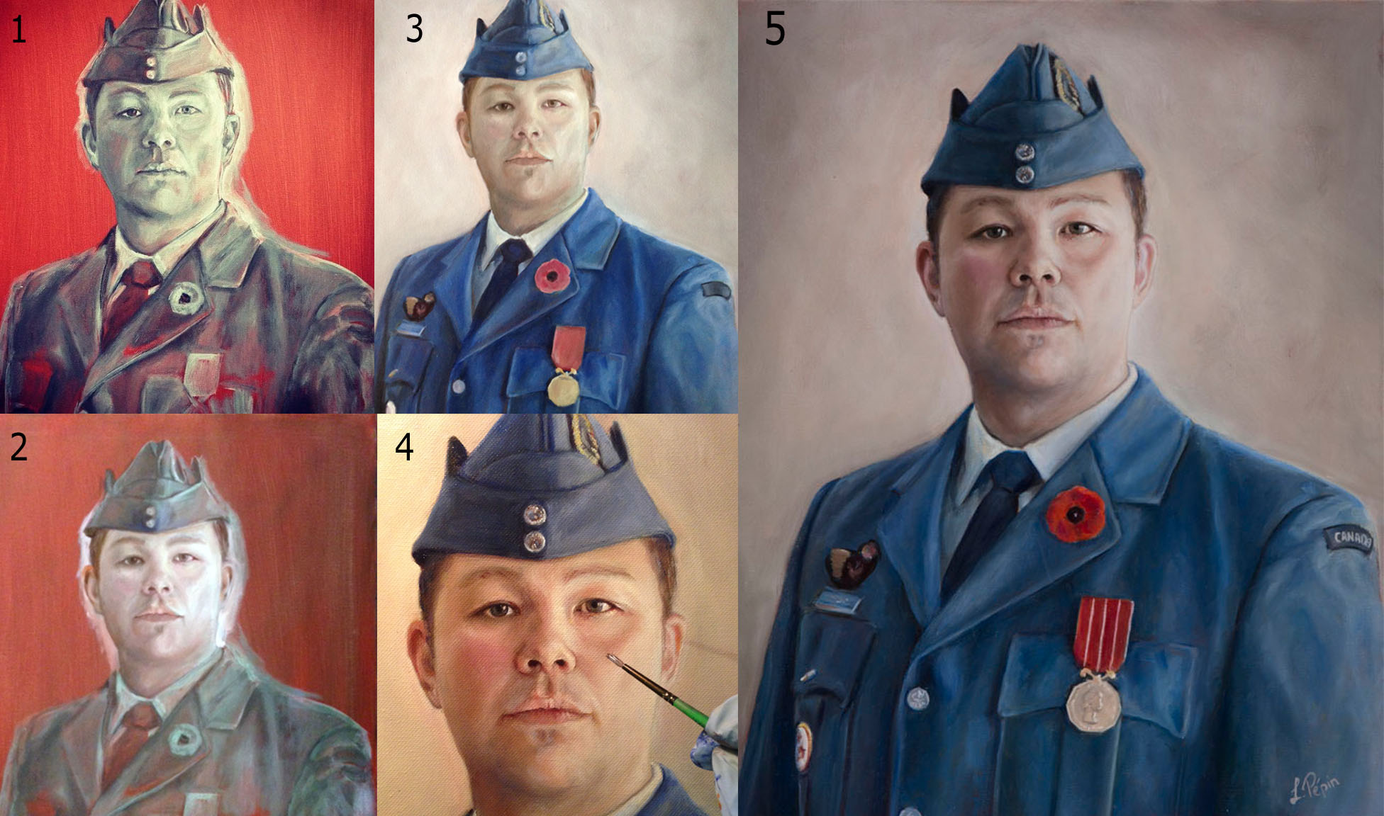 Stages of oil painting portrait