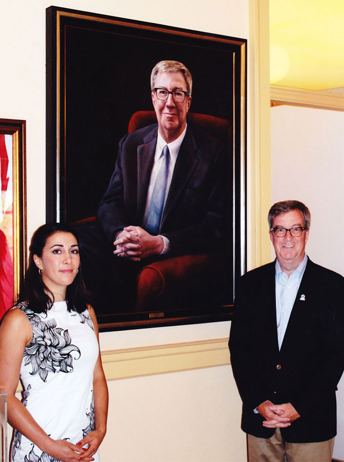 Ottawa Mayor Jim Watson and Portrait artist Lydia Pepin
