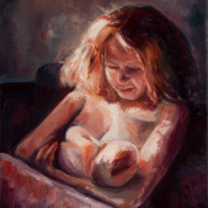 oil painting portrait woman, woman breastfeeding, artist Lydia Pepin